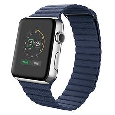 Apple Watch Armband,Wollpo® Echtes Leder Schleife mit Magnetisch Ersatz Bügel Uhrenarmband Armband für Apple Watch 38mm (genuine leather loop-Blue 38mm) - http://uhr.haus/wollpo/genuine-leather-loop-blue-38mm-fitbit-blaze-band