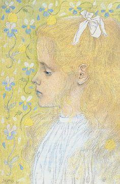 Jan Theodor Toorop (Dutch 1858-1928), Charley Toorop, pencil, pen and pastel on paper 1897.