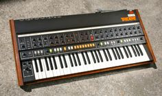 Korg Trident MK I ~ analog polyphonic synthesizer with 16 presets, plus a brass and a string synthesizer section, all three sources mixable ~ nicely restored, seen at Wavemeister ~ strange connectivity with modular and other gear, a lot of CV and passive pedal-ins but for instance the gate-in only triggers the brass section (?), also not easy to tune it with 35 trimmer pots inside     #electronicmusic #synthesizer #instruments #electroacoustic #sound #synthesis