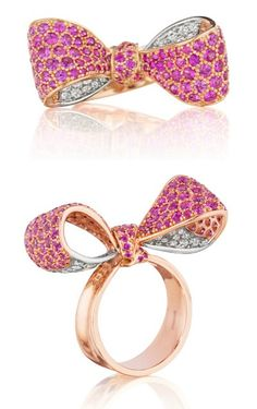 Mimi So pink sapphire and diamond bow ring in rose and white gold. Via Diamonds in the Library.