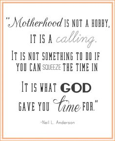 Motherhood is not a hobby, it is a calling.  It is not something to do if you can squeeze the time in.  It is what God gave you the time for.