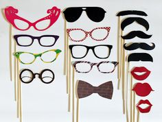 Mad Men Party Photo Props (Mustache, glasses, bow-tie, lips)