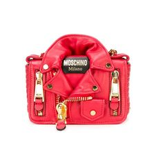 Moschino Biker Jacket Womens Small Leather Shoulder Bag Red