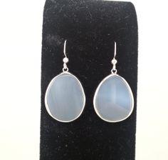 Semi Precious Gray Agate Stone Earrings by LeafRiverJewelry, $18.00