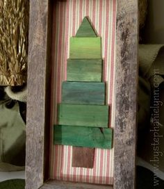 DIY Wooden Frame and Shim (or use paintsticks) Christmas Tree Wall Decor by FaithS
