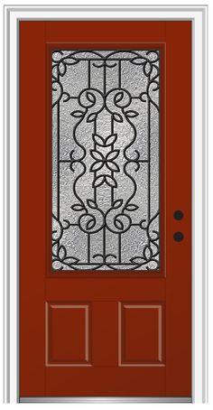 Shown Is A Mediterranean 3 4 Lite 2 Panel Entry Door Painted Redwood