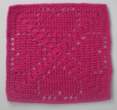 "The Left Side of Crochet: Pink Crush  Hearts Dishcloth 12"" sq   (makes a nice baby blanket too!)"