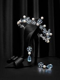 display image of a diamond, aquamarine, and pearl tiara by Chopard - inspired…