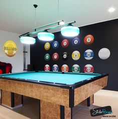 Item your Billiard Room with these realistic Billiard Ball decals. Be the envy of your friends. Includes all 15 Individual Balls plus the White Ball.Simply peel and stick. No glue or chemicals needed, all decals come with instru. Billard Bar, Pool Table Room, Pool Tables, Pool Table Lighting, Billards Room, Liquor Bar, Man Bars, Man Cave Diy, Feng Shui