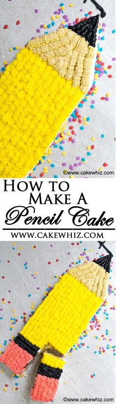Learn how to make an EASY PENCIL CAKE. Great for back to school time and kids love it! From cakewhiz.com