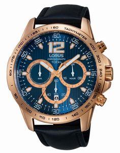Lorus Gents Black Leather Strap Chronograph Watch RT312EX9