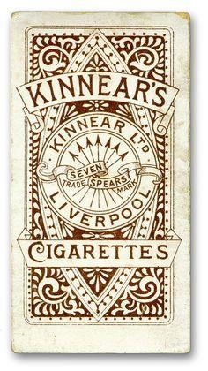 Kinnear's cigarette trade card, British, ca.early 1900s. ~Via Letterology