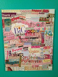 Gratitude Board for Kids (Have the kids place on the boards what they have gratitude for using clippings from magazines, newpapers, etc) I will change this to a goodness board. Kids will show how they will show goodness. Diy And Crafts, Crafts For Kids, Easy Crafts, How To Make Letters, Magazine Collage, Board For Kids, Creating A Vision Board, Magazine Crafts, Scrapbooking
