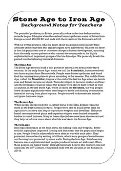 This is a set of Stone Age to Iron Age Teachers' background notes and an overview to the history unit 'Changes from Stone Age to Iron Age'. Ap World History, British History, European History, American History, Stone Age Ks2, Ancient Civilizations Lessons, Line Stone, Iron Age, Primary School