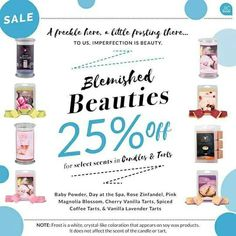 More scents being added to Blemished Beauties  Candles for $18.72 and tarts for $11.97 These Blemished Beauties have the same great scents they just have Frost on them which is normal for Soy wax. Get yours before they sell out at https://www.jewelryincandles.com/store/blingscents use code Beauties at checkout.