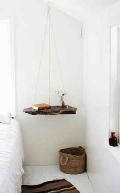 Scandinavian living hanging shelf bedroom
