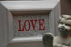 VIA: BETTY CROCKR WANNABE - I had a vision for this a while back, and decided it would make a great printable for Valentine's day.      It has 1 Corinthians 13 (the love chapter) in the background, and the word LOVE in a transparent red. If you like it, it's free for the taking.