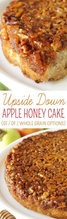 Apple Upside Down Cake with Honey (gluten-free, whole grain options and dairy-free) - Texanerin Baking Fluffy and moist upside down apple honey cake {dairy-free with gluten-free and whole grain options} Dessert Oreo, Dessert Sans Gluten, Low Carb Dessert, Gluten Free Sweets, Gluten Free Cakes, Gluten Free Baking, Paleo Dessert, Dessert Recipes, Gluten Free Apple Cake