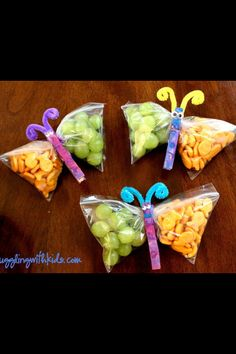 fun snack - decorate a clothespin like the body of a caterpillar and pinch the snacks in a bag.