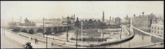 Rochester, NY Panoramic Photo (c. 1914) shows South Avenue, Erie Canal, Lehigh Valley Railroad Station, Court St. bridge, Erie Railroad Station, Kimball Tobacco Factory