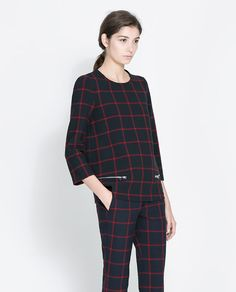 ZARA - WOMAN - CHECKED TOP WITH ZIPS