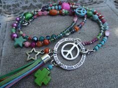 Tolle Bettelkette *Charmring Dream Hope Love bunt von Perlenzimmer auf DaWanda.com