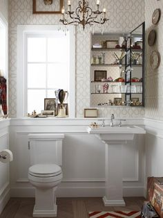 Tips for small bathrooms, wallpaper powder room, medicine cabinet, pedestal sink