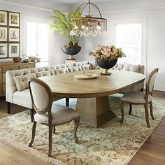 """Leighton 54"""" Oval Extension Pedestal Dining Table In Weathered Banquette"""