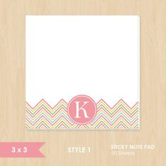 Personalized Sticky Note // Pink Yellow Green Blue Chevron by k8inked