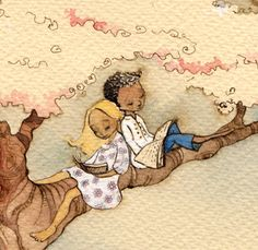 Detail from The Reading Tree, a painting by Aileen Leijten re-pinned by: http://sunnydaypublishing.com/books/