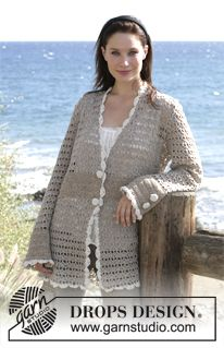"DROPS Crochet jacket in ""Alpaca"". Sizes S - XXXL ~ DROPS Design - Free pattern - Love the sleeve detail!"