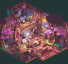 pixel room by blink, I have no words this pixel art is beautiful (also this room is amazing/beautiful I wish this was my room it has so much trinkets, art stuff and a reading nook. Fantasy House, Fantasy World, Fantasy Art, Environment Concept Art, Environment Design, Game Design, Images Kawaii, Japon Illustration, Isometric Art