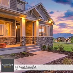 Sit back and watch the sunset on this radiant front porch. #CandlelightHomes #utahhomes #utahbuilder #webuildbeautiful #exterior #craftsman #home #utah