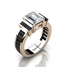 Decorum 14K Rose Gold 2.0 Ct Emerald and Baguette by DecorumRings