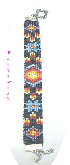 Native American Seed Bead Patterns | Native American Style Handwoven Seed Bead Bracelet Fire Diamonds FREE ...