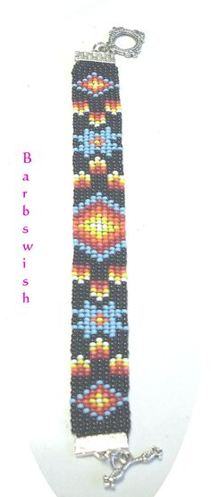 Native American Seed Bead Patterns | Native American Style Handwoven Seed Bead Bracelet Fire Diamonds FREE ...