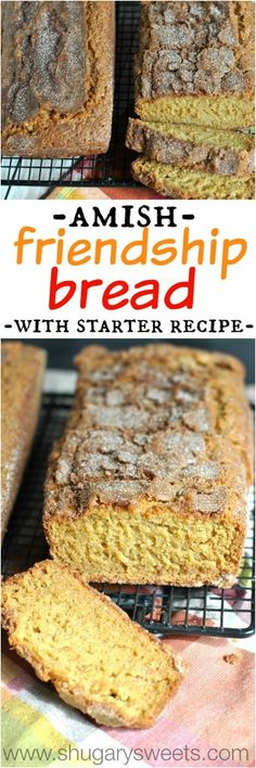 Amish Friendship Bread with starter recipe! Come bake some bread and share with your friends this delicious cinnamon bread recipe! This really,truly is delicious and it's really neat how you share the dough and pass it on to others! Friendship Bread Recipe, Friendship Bread Starter, Amish Friendship Bread, Dessert Bread, Dessert Recipes, Desserts, Bread Recipes, Cooking Recipes, Amish Bread