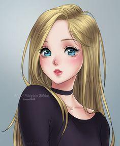 Old Art Commission by on DeviantArt Anime Art Girl, Manga Girl, Anime Chibi, Disney Princess Drawings, Cute Girl Drawing, Girly Drawings, Image Manga, Digital Art Girl, Beautiful Anime Girl