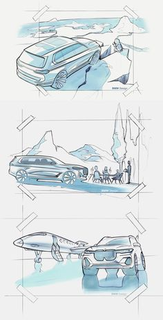 Set of official design sketches for the launch of the BMW X7  #BMW #BMWX7 #CarDesign #CarBodyDesign #DesignSketch #SUV