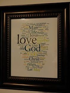 Using Wordle.net to make a word cloud of wedding vows.  The more frequent the words, the bigger they appear in the word cloud. #DIY #Wordle
