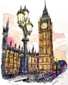 Travel Drawing London Big Ben 37 Best Ideas Best Picture For old Architecture Drawing For Your Taste Watercolor Architecture, Architecture Art, Art Sketches, Art Drawings, London Drawing, London Painting, Travel Drawing, London Art, London Style