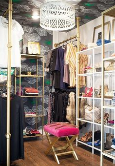 This is the closet of style blogger Krystine Edwards, spotted on One Kings Lane. Shelves from IKEA.