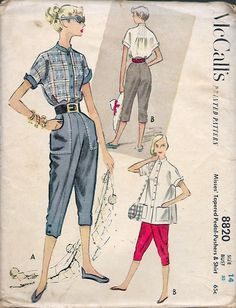 """Vintage 1952 McCall's 8820 Tapered Pedal-Pushers & Shirt Sewing Pattern Size 14 Bust 32"""" UNCUT by Recycledelic1 on Etsy"""