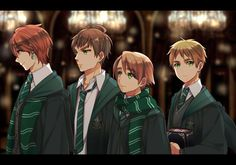 UK brothers in Slytherin  although I thought Scottie to be in Gryffindor and Wales in Hufflepuff...and Ireland probably in Gryffindor too.... I guess I only put England in Slytherin...but anyway this is so awesome!!!❤