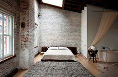 A SoHo loft. Photo: Bruce Buck for The New York Times Exposed brick 😍 Soho Loft, Dream Bedroom, Home Bedroom, Brick Bedroom, Bedrooms, Skylight Bedroom, Bedroom Decor, Loft Ensuite, Serene Bedroom