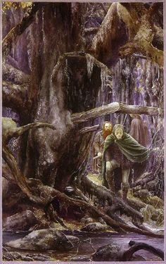 Alan Lee - Aragorn tracks the hobbit.