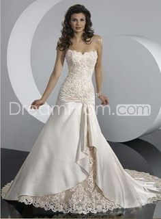 Gorgeous A-Line Sleeveless Chapel Train Lace Satin Wedding Dresses(ASM3297)