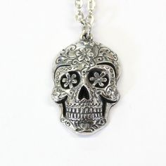 Sugar Skull Pendant, Large Sugar Skull Necklace Silver Sugar Skull Jewelry - Day of the Dead 450 Skull Necklace, Pendant Necklace, Sugar Skull Jewelry, Skull Pictures, Skull Pendant, Gothic Jewelry, Silver Necklaces, Ideias Fashion, Women Jewelry