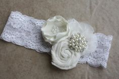 Vintage inspired lace baptism headband/wedding garter/bridal garter/baptism/lace garter/vintage garter/something old/vintage lace garter on Etsy, $24.99