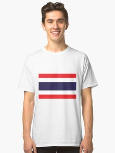 'Flag Of Thailand' Classic T-Shirt by ArgosDesigns Thailand Flag, Buy Flags, Indie Art, Flag Shirt, Fabric Weights, Chiffon Tops, Heather Grey, Classic T Shirts, Artists